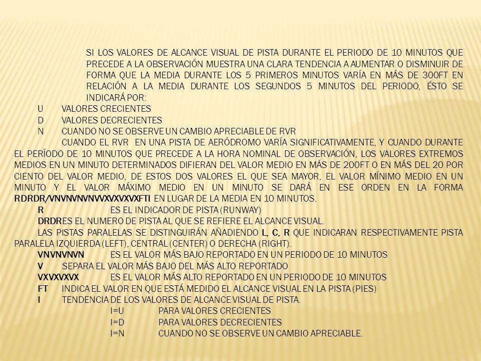 EJEMPLO: R24/1000FTN EN LA PISTA 24 / ALCANCE VISUAL EN LA PISTA MIL PIES, EL VALOR MEDIO Y TENDENCIA DEL ALCANCE VISUAL EN LA PISTA NO PRESENTA NINGÚN CAMBIO APRECIABLE.