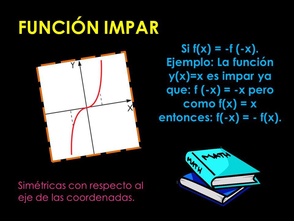 FUNCIÓN IMPAR Si f(x) = -f (-x). Ejemplo: La función y(x)=x es impar ya que: f (-x) = -x pero como f(x) = x entonces: f(-x) = - f(x). Simétricas con r