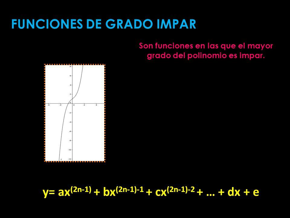 Son funciones en las que el mayor grado del polinomio es impar. FUNCIONES DE GRADO IMPAR y= ax (2n-1) + bx (2n-1)-1 + cx (2n-1)-2 + … + dx + e