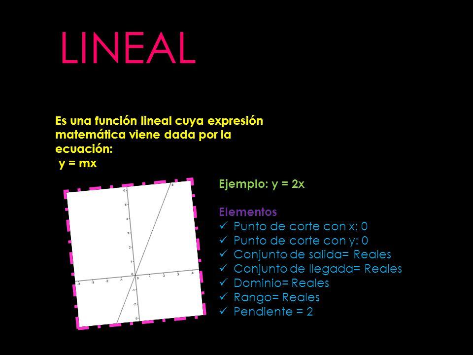 Es una función lineal cuya expresión matemática viene dada por la ecuación: y = mx Ejemplo: y = 2x Elementos Punto de corte con x: 0 Punto de corte co