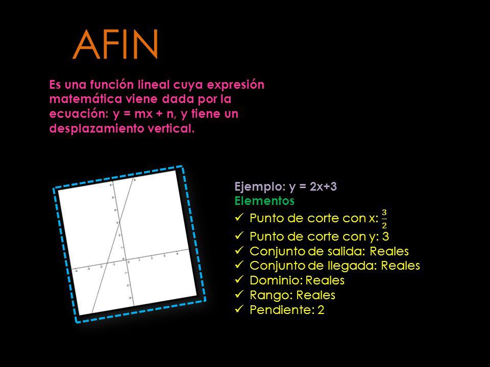 Es una función lineal cuya expresión matemática viene dada por la ecuación: y = mx + n, y tiene un desplazamiento vertical. AFIN