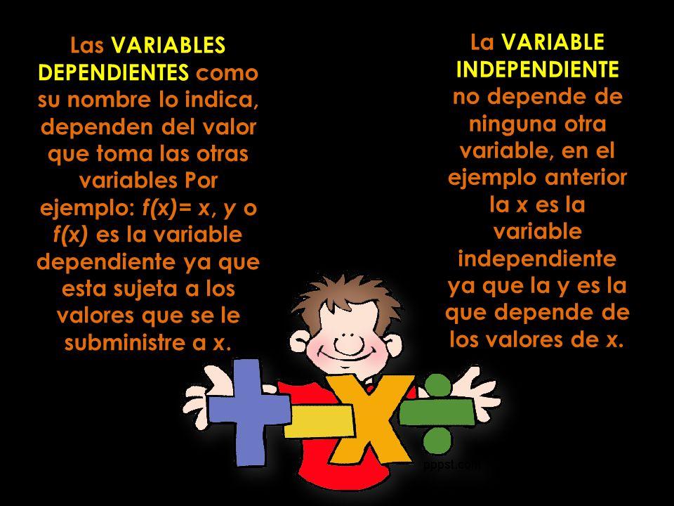 La VARIABLE INDEPENDIENTE no depende de ninguna otra variable, en el ejemplo anterior la x es la variable independiente ya que la y es la que depende