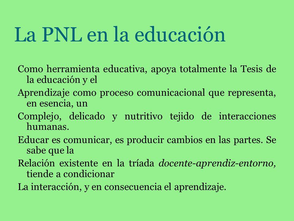 La PNL en la educación Como herramienta educativa, apoya totalmente la Tesis de la educación y el Aprendizaje como proceso comunicacional que represen