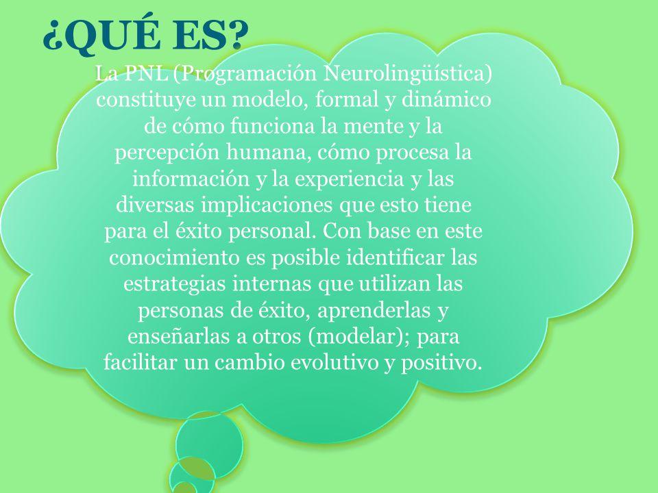 ¿QUÉ ES? La PNL (Programación Neurolingüística) constituye un modelo, formal y dinámico de cómo funciona la mente y la percepción humana, cómo procesa