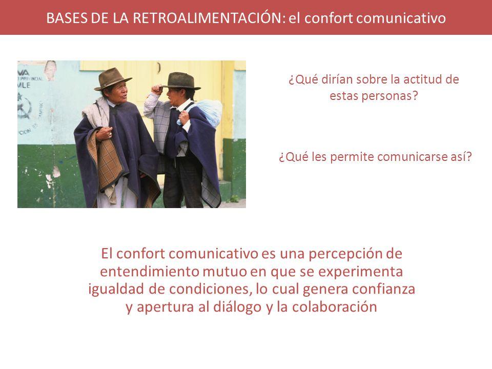 BASES DE LA RETROALIMENTACIÓN: el confort comunicativo El confort comunicativo es una percepción de entendimiento mutuo en que se experimenta igualdad de condiciones, lo cual genera confianza y apertura al diálogo y la colaboración ¿Qué dirían sobre la actitud de estas personas.