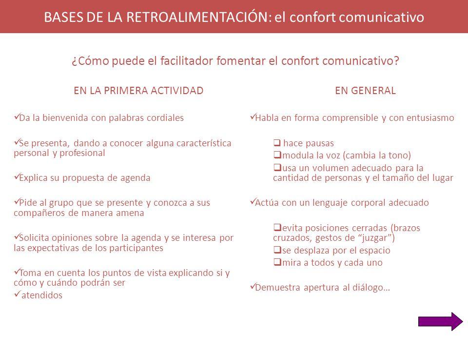 BASES DE LA RETROALIMENTACIÓN: el confort comunicativo EN LA PRIMERA ACTIVIDAD Da la bienvenida con palabras cordiales Se presenta, dando a conocer al