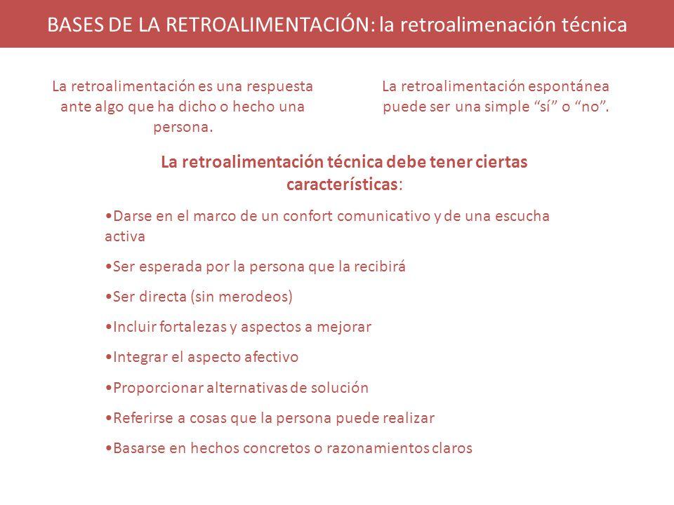BASES DE LA RETROALIMENTACIÓN: la retroalimenación técnica La retroalimentación es una respuesta ante algo que ha dicho o hecho una persona.