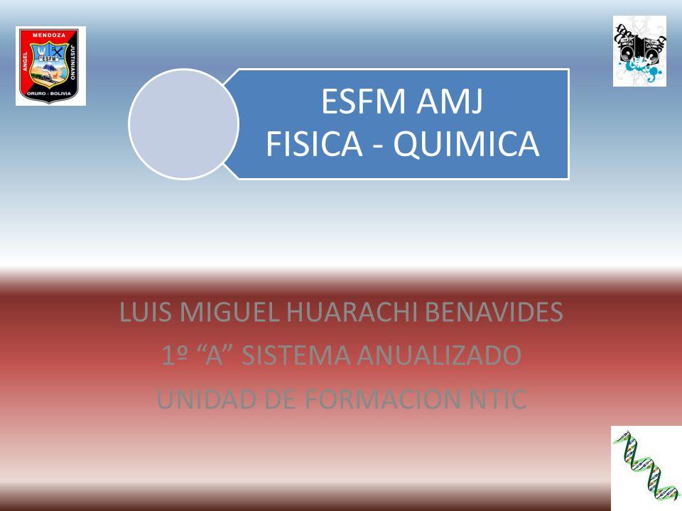 ESFM AMJ FISICA - QUIMICA LUIS MIGUEL HUARACHI BENAVIDES 1º A SISTEMA ANUALIZADO UNIDAD DE FORMACION NTIC