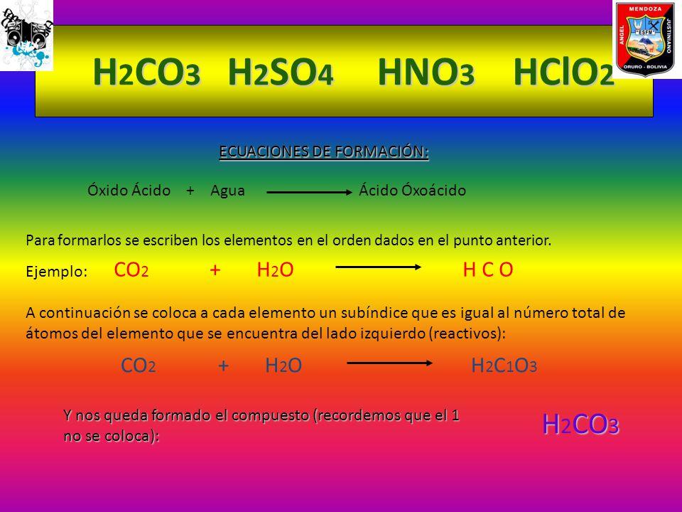 H 2CO3 H H2SO4 NO3 HClO2 ECUACIONES DE FORMACIÓN: Óxido Ácido + Agua Ácido Óxoácido Para formarlos se escriben los elementos en el orden dados en el p