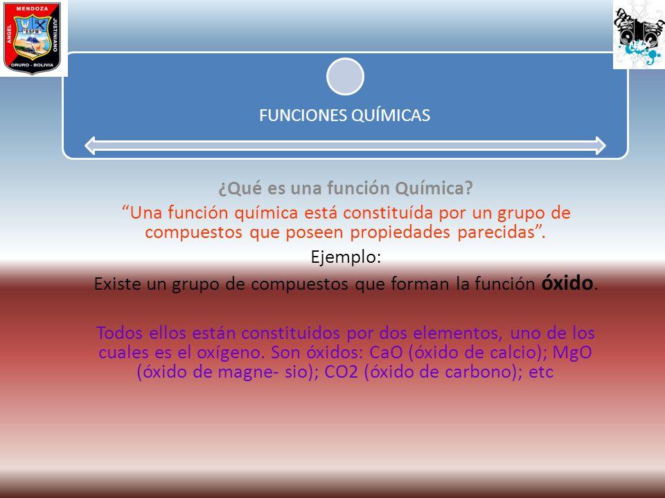FUNCIONES QUÍMICAS ¿Qué es una función Química? Una función química está constituída por un grupo de compuestos que poseen propiedades parecidas. Ejem