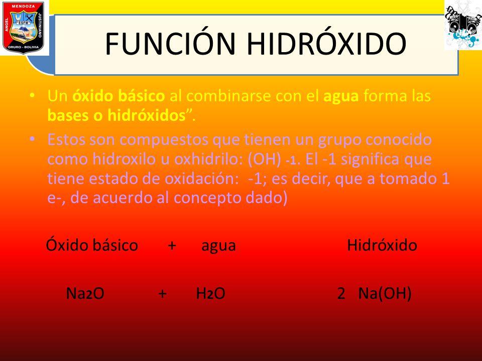 FUNCIÓN HIDRÓXIDO Un óxido básico al combinarse con el agua forma las bases o hidróxidos. Estos son compuestos que tienen un grupo conocido como hidro