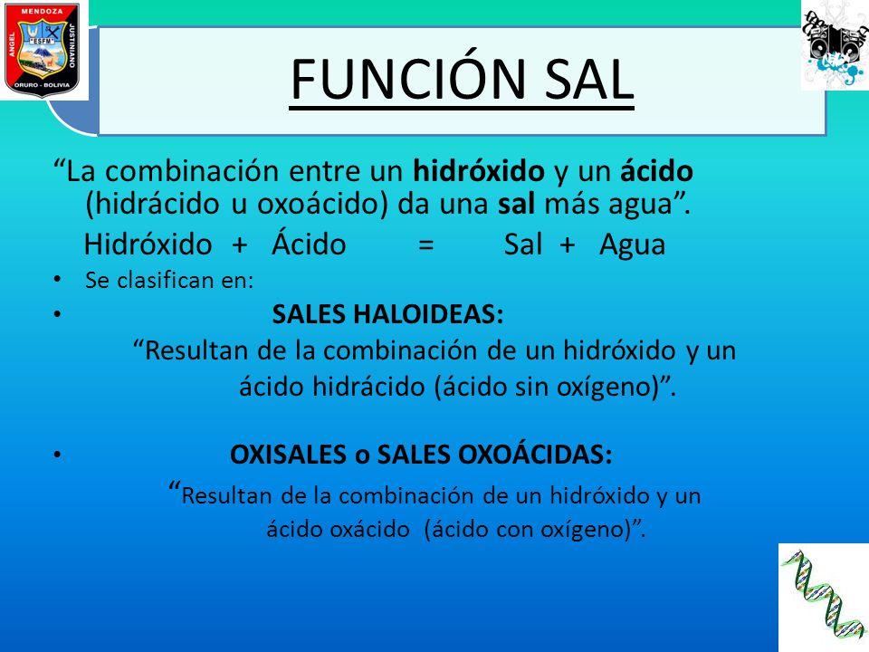 FUNCIÓN SAL La combinación entre un hidróxido y un ácido (hidrácido u oxoácido) da una sal más agua. Hidróxido + Ácido = Sal + Agua Se clasifican en: