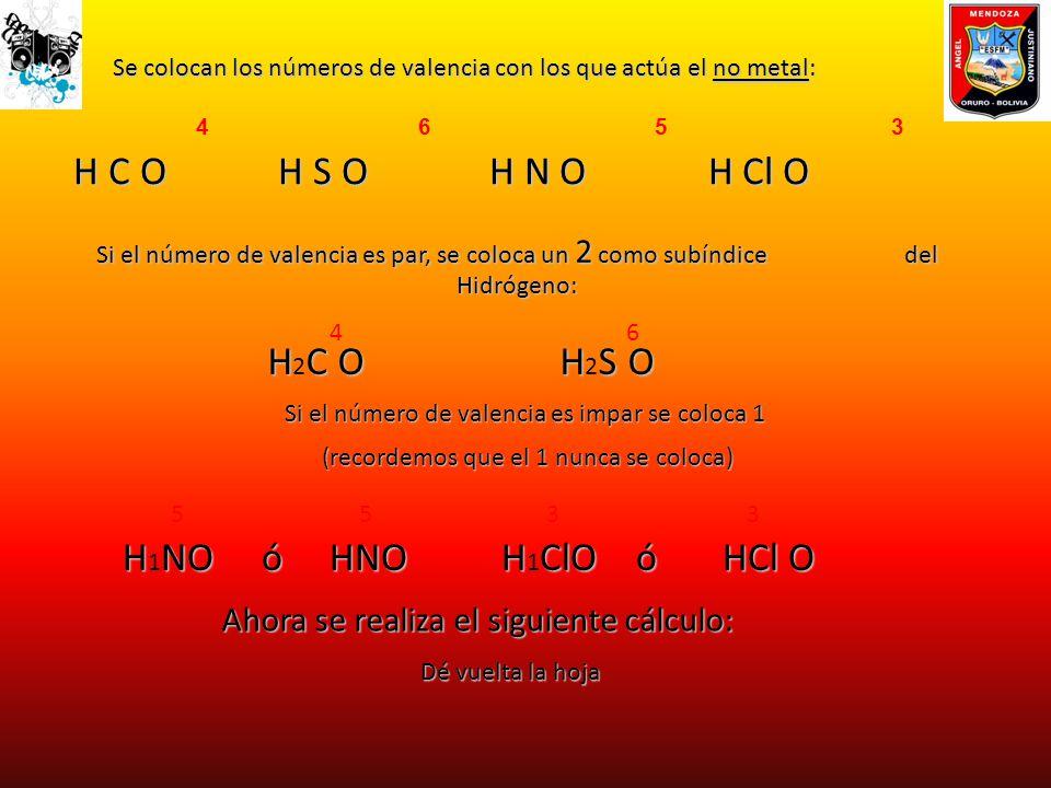4 6 5 3 H C O H S O H N O H Cl O Se colocan los números de valencia con los que actúa el no metal: Se colocan los números de valencia con los que actú