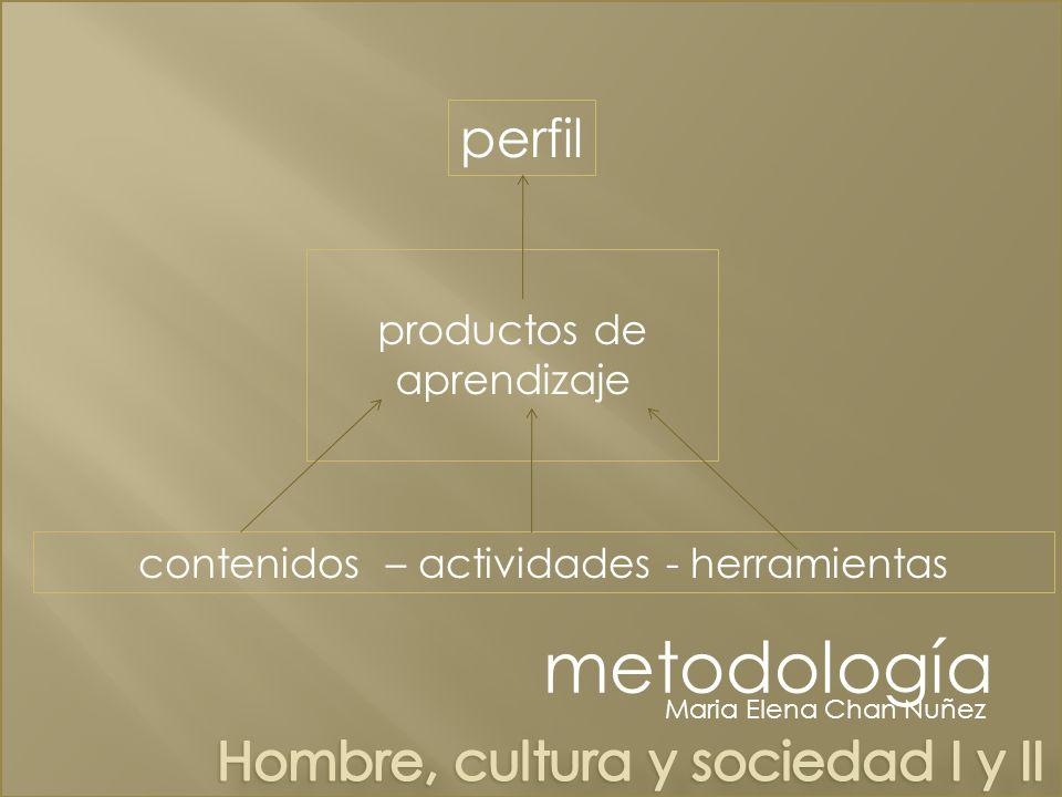 perfil productos de aprendizaje contenidos – actividades - herramientas Maria Elena Chan Nuñez metodología