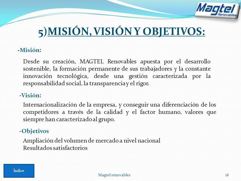 Magtel renovables16 -Misión: Desde su creación, MAGTEL Renovables apuesta por el desarrollo sostenible, la formación permanente de sus trabajadores y