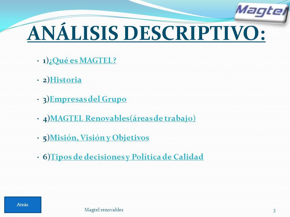 ANÁLISIS DESCRIPTIVO: Magtel renovables3 · 1)¿Qué es MAGTEL?¿Qué es MAGTEL? · 2)HistoriaHistoria · 3)Empresas del GrupoEmpresas del Grupo · 4)MAGTEL R