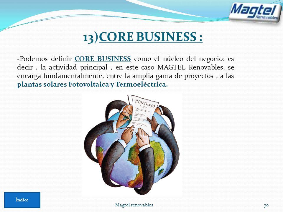 Magtel renovables30 -Podemos definir CORE BUSINESS como el núcleo del negocio: es decir, la actividad principal, en este caso MAGTEL Renovables, se en