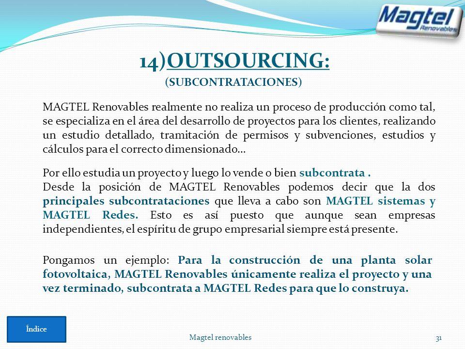 Magtel renovables31 14)OUTSOURCING: MAGTEL Renovables realmente no realiza un proceso de producción como tal, se especializa en el área del desarrollo