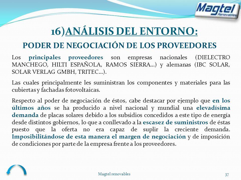 Magtel renovables37 PODER DE NEGOCIACIÓN DE LOS PROVEEDORES Los principales proveedores son empresas nacionales (DIELECTRO MANCHEGO, HILTI ESPAÑOLA, R