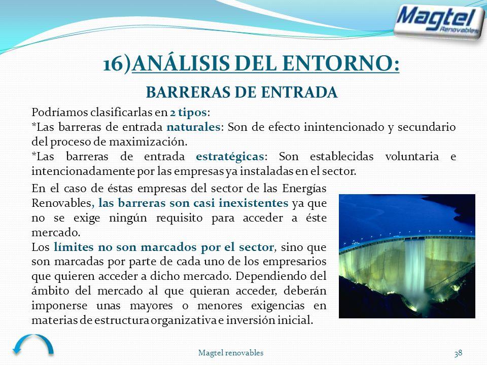 Magtel renovables38 BARRERAS DE ENTRADA Podríamos clasificarlas en 2 tipos: *Las barreras de entrada naturales: Son de efecto inintencionado y secunda