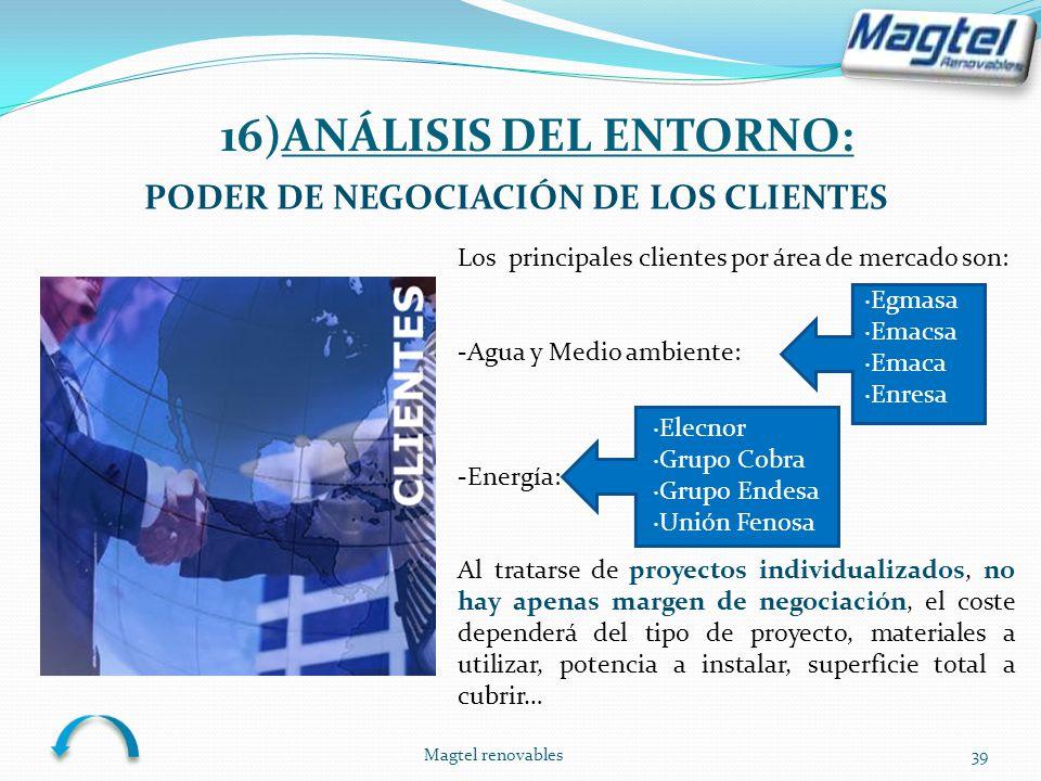 Magtel renovables39 PODER DE NEGOCIACIÓN DE LOS CLIENTES Los principales clientes por área de mercado son: -Agua y Medio ambiente: -Energía: Al tratar