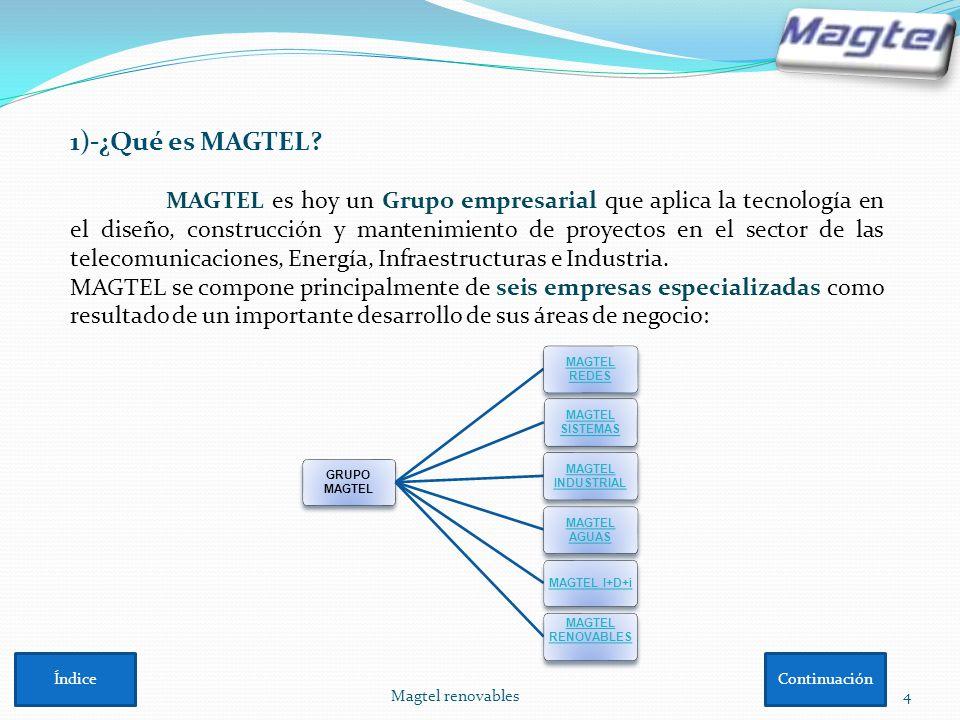 Magtel renovables4 1)-¿Qué es MAGTEL? MAGTEL es hoy un Grupo empresarial que aplica la tecnología en el diseño, construcción y mantenimiento de proyec