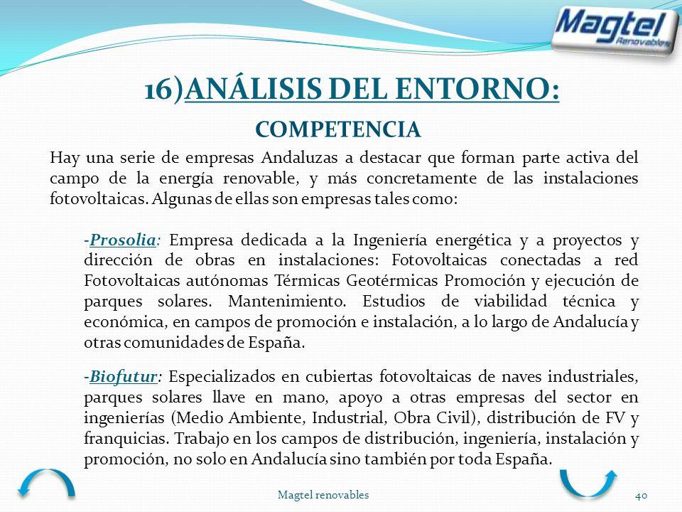 Magtel renovables40 COMPETENCIA Hay una serie de empresas Andaluzas a destacar que forman parte activa del campo de la energía renovable, y más concre