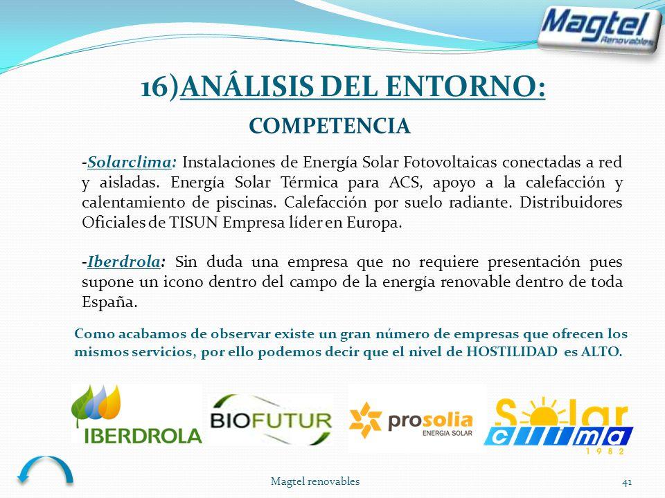 Magtel renovables41 COMPETENCIA -Solarclima: Instalaciones de Energía Solar Fotovoltaicas conectadas a red y aisladas. Energía Solar Térmica para ACS,