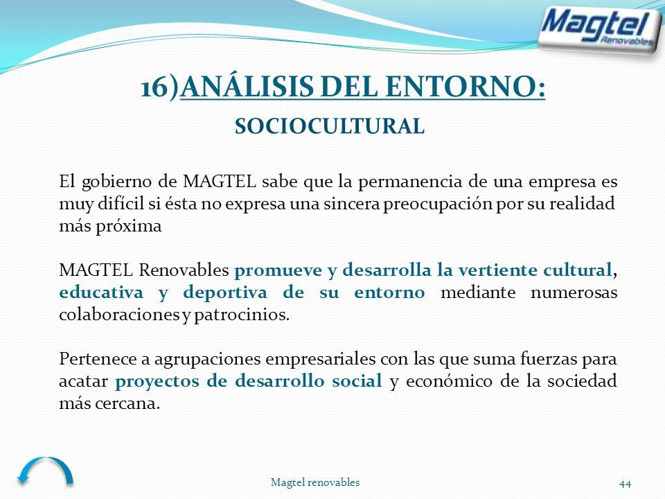 Magtel renovables44 SOCIOCULTURAL El gobierno de MAGTEL sabe que la permanencia de una empresa es muy difícil si ésta no expresa una sincera preocupac