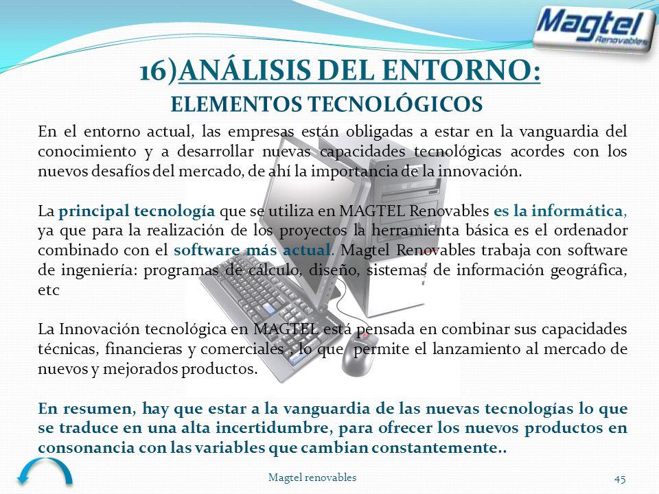 Magtel renovables45 ELEMENTOS TECNOLÓGICOS En el entorno actual, las empresas están obligadas a estar en la vanguardia del conocimiento y a desarrolla