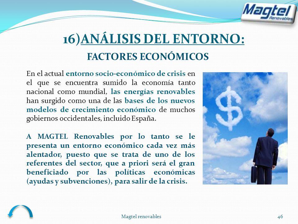 Magtel renovables46 FACTORES ECONÓMICOS En el actual entorno socio-económico de crisis en el que se encuentra sumido la economía tanto nacional como m
