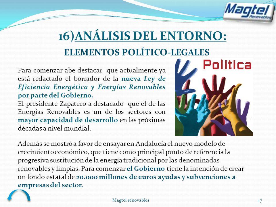 Magtel renovables47 ELEMENTOS POLÍTICO-LEGALES Para comenzar abe destacar que actualmente ya está redactado el borrador de la nueva Ley de Eficiencia