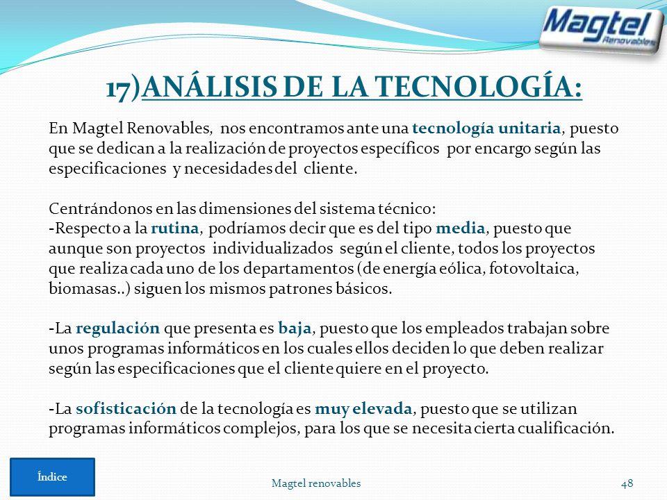 Magtel renovables48 En Magtel Renovables, nos encontramos ante una tecnología unitaria, puesto que se dedican a la realización de proyectos específico