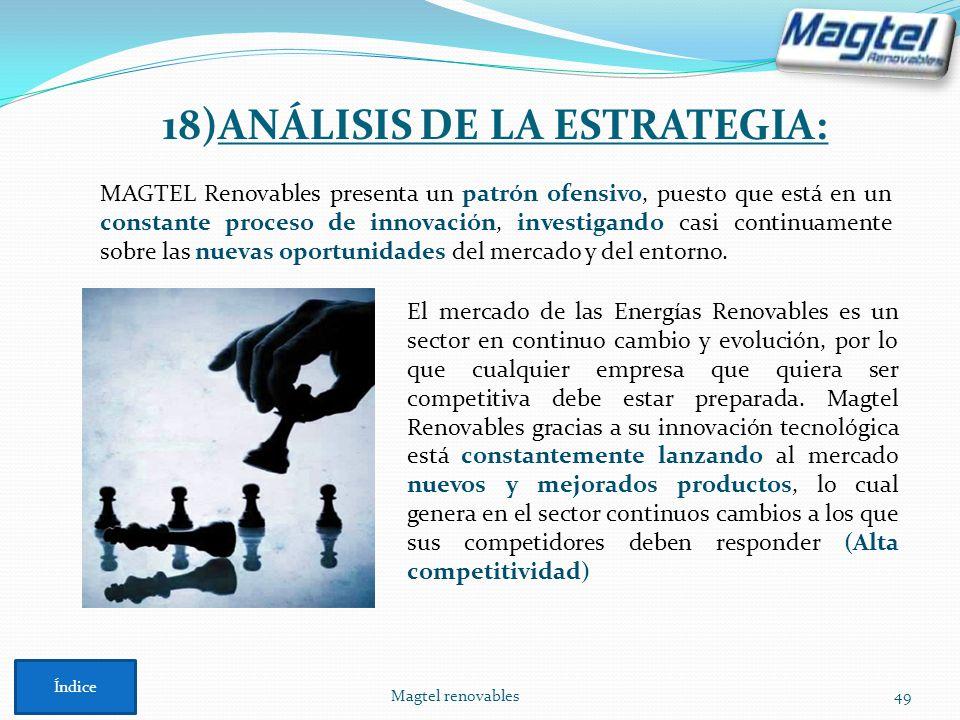 Magtel renovables49 18)ANÁLISIS DE LA ESTRATEGIA: MAGTEL Renovables presenta un patrón ofensivo, puesto que está en un constante proceso de innovación