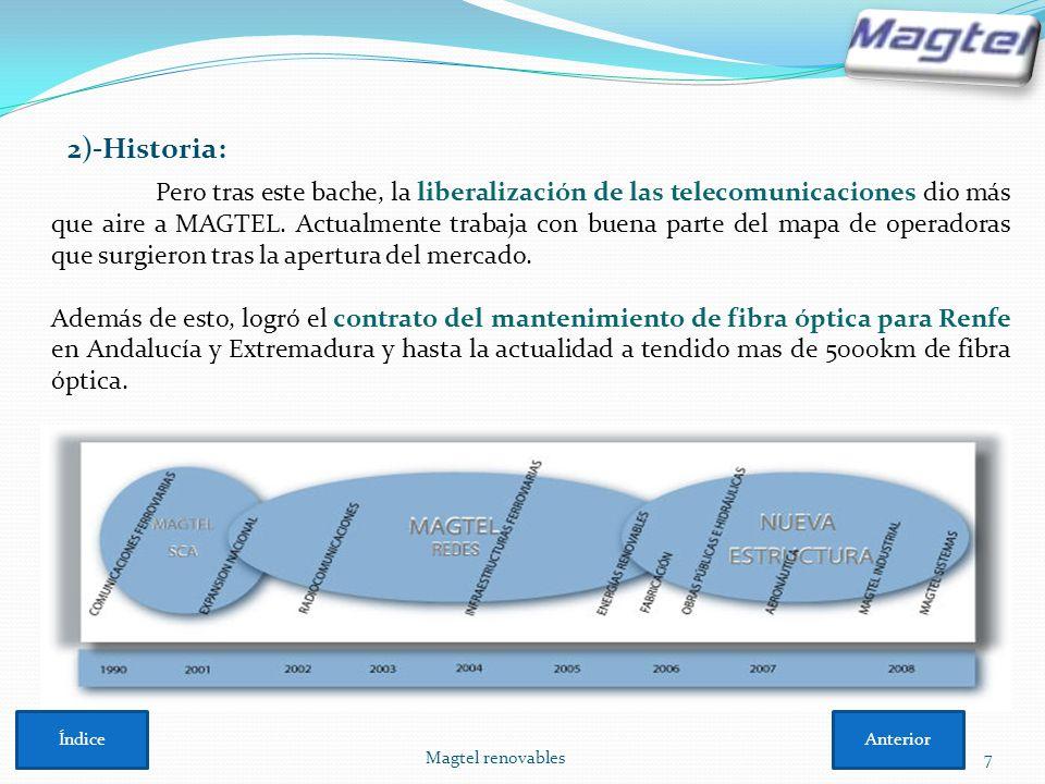 Magtel renovables7 2)-Historia: Pero tras este bache, la liberalización de las telecomunicaciones dio más que aire a MAGTEL. Actualmente trabaja con b