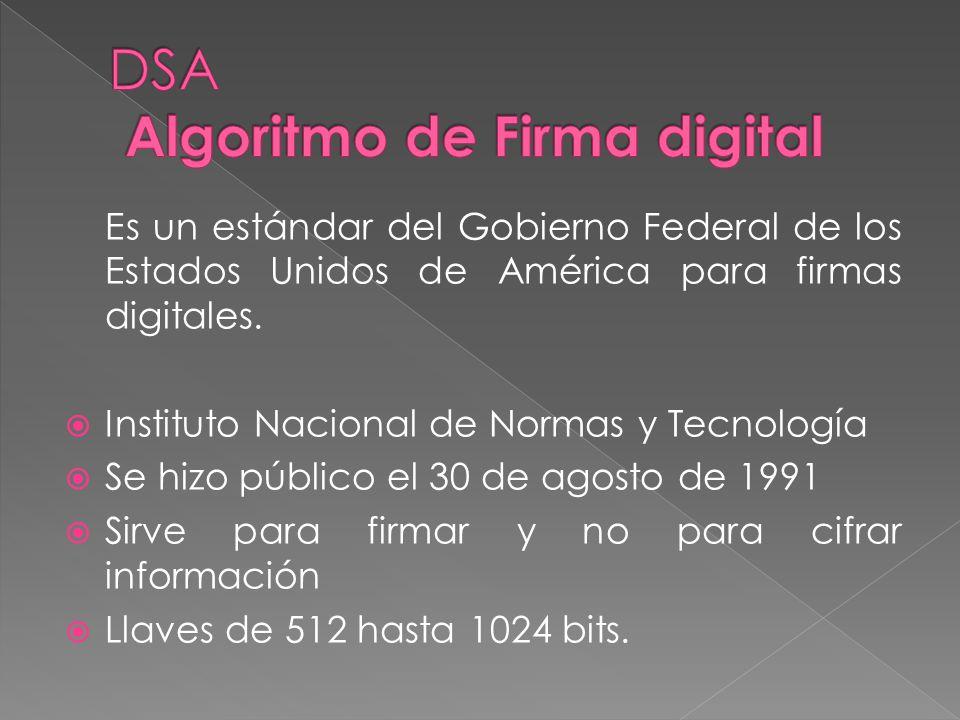 Es un estándar del Gobierno Federal de los Estados Unidos de América para firmas digitales. Instituto Nacional de Normas y Tecnología Se hizo público