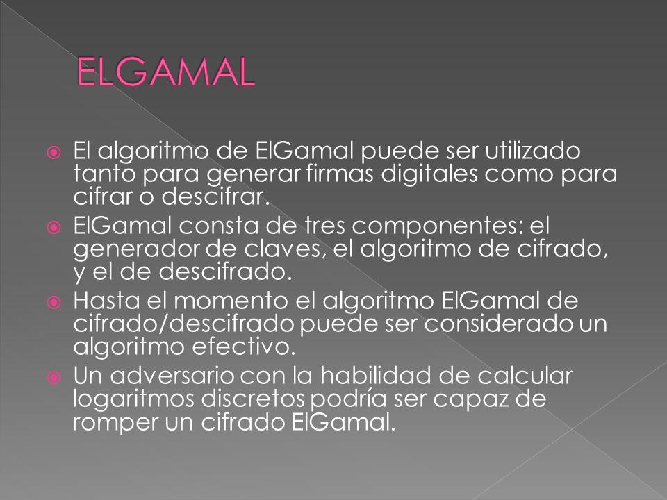 El algoritmo de ElGamal puede ser utilizado tanto para generar firmas digitales como para cifrar o descifrar. ElGamal consta de tres componentes: el g
