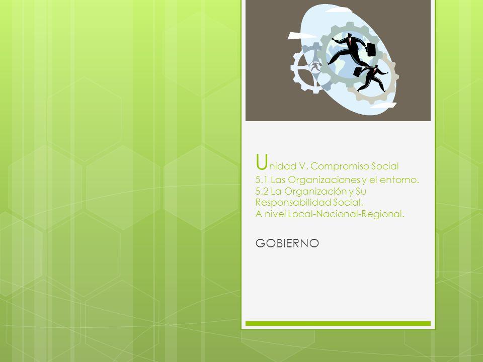 U nidad V. Compromiso Social 5.1 Las Organizaciones y el entorno. 5.2 La Organización y Su Responsabilidad Social. A nivel Local-Nacional-Regional. GO