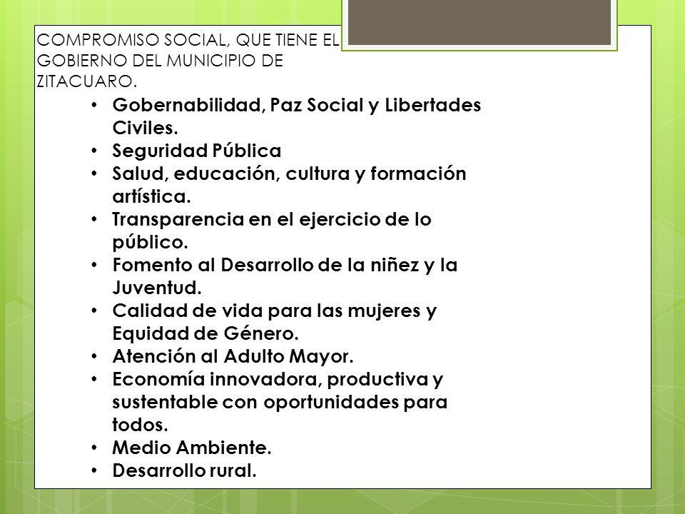 COMPROMISO SOCIAL, QUE TIENE EL GOBIERNO DEL MUNICIPIO DE ZITACUARO. Gobernabilidad, Paz Social y Libertades Civiles. Seguridad Pública Salud, educaci