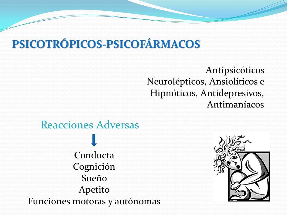 PSICOTRÓPICOS-PSICOFÁRMACOS Antipsicóticos Neurolépticos, Ansiolíticos e Hipnóticos, Antidepresivos, Antimaníacos Reacciones Adversas Conducta Cognici