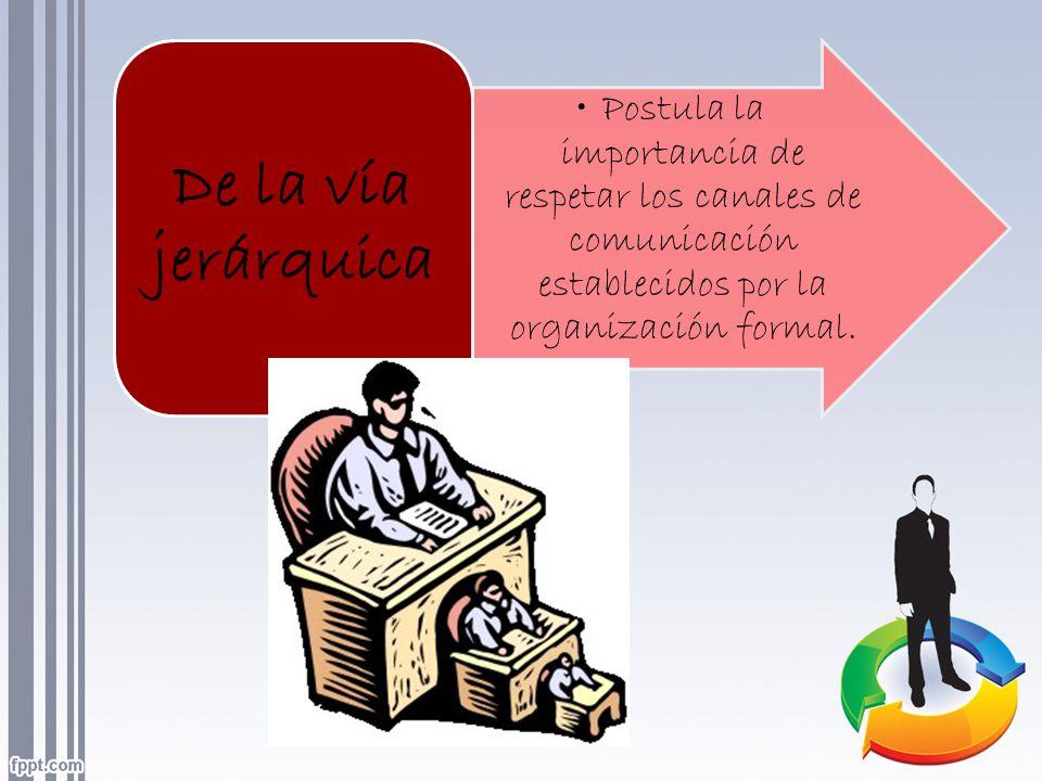 Postula la importancia de respetar los canales de comunicación establecidos por la organización formal. De la vía jerárquica