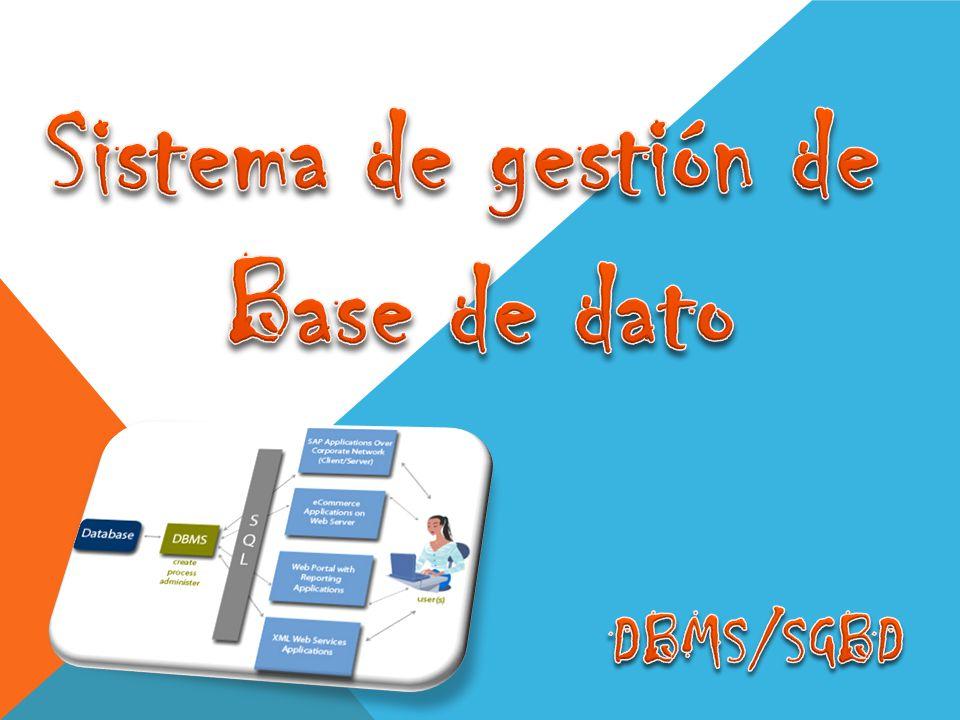 son un tipo de software muy específico, dedicado a servir de interfaz entre la base de datos, el usuario y las aplicaciones que la utilizan.