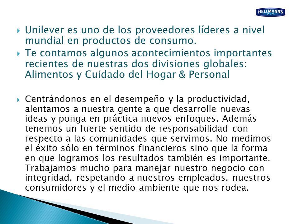 Unilever es uno de los proveedores líderes a nivel mundial en productos de consumo.