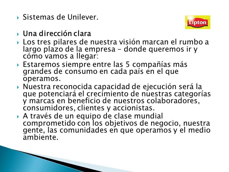 Sistemas de Unilever. Una dirección clara Los tres pilares de nuestra visión marcan el rumbo a largo plazo de la empresa - donde queremos ir y cómo va