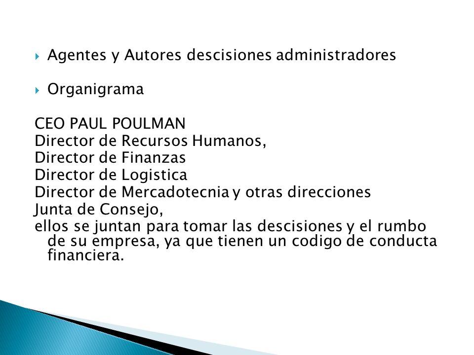 Agentes y Autores descisiones administradores Organigrama CEO PAUL POULMAN Director de Recursos Humanos, Director de Finanzas Director de Logistica Di