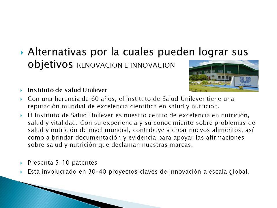 Alternativas por la cuales pueden lograr sus objetivos RENOVACION E INNOVACION Instituto de salud Unilever Con una herencia de 60 años, el Instituto d