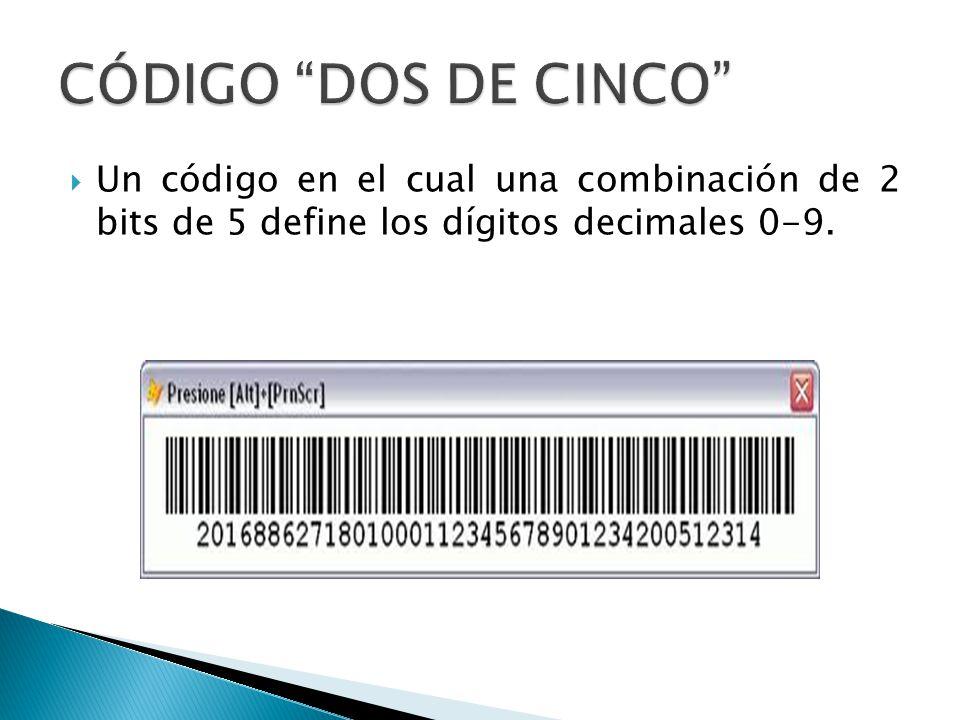 Un código en el cual una combinación de 2 bits de 5 define los dígitos decimales 0-9.