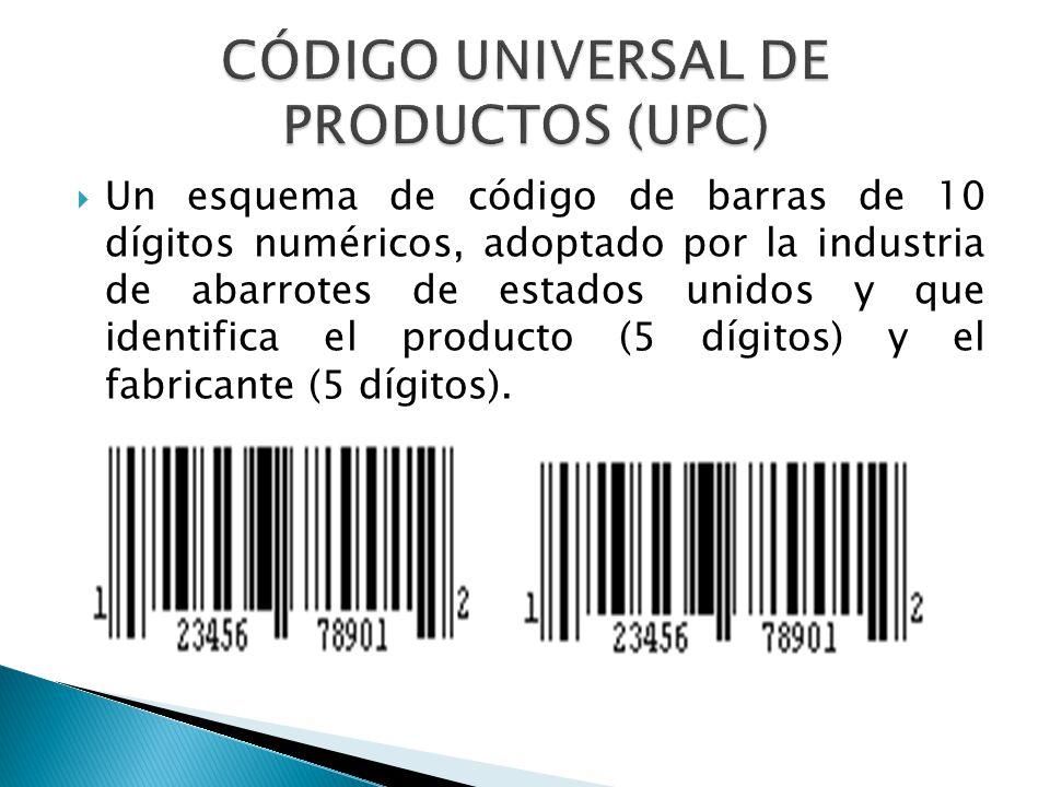 Un esquema de código de barras de 10 dígitos numéricos, adoptado por la industria de abarrotes de estados unidos y que identifica el producto (5 dígit