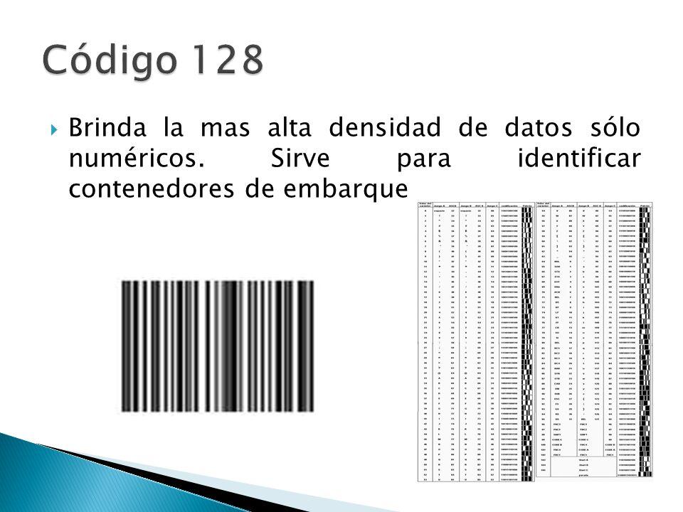 Brinda la mas alta densidad de datos sólo numéricos. Sirve para identificar contenedores de embarque