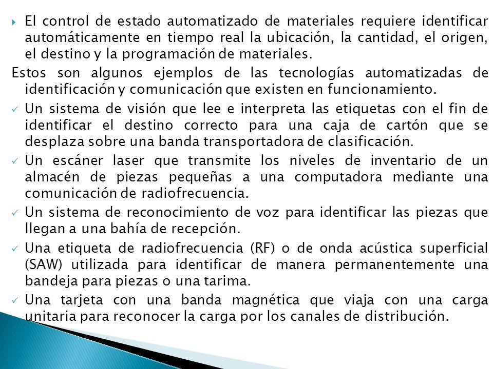 El control de estado automatizado de materiales requiere identificar automáticamente en tiempo real la ubicación, la cantidad, el origen, el destino y
